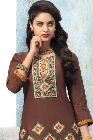 Designer Embroidered Patiala in Cotton:atisundar superb Brown Designer Embroidered Patiala Dress Material In Cotton - 6429 - atisundar - 4