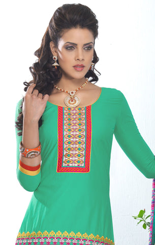 Designer Embroidered Patiala in Cotton:atisundar excellent Green Designer Embroidered Patiala Dress Material In Cotton - 6432 - atisundar - 4