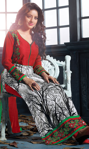 Designer Embroidered Straight Cut Suits:atisundar elegant Red And White Straight Cut Designer Wear - 6456 - atisundar - 5
