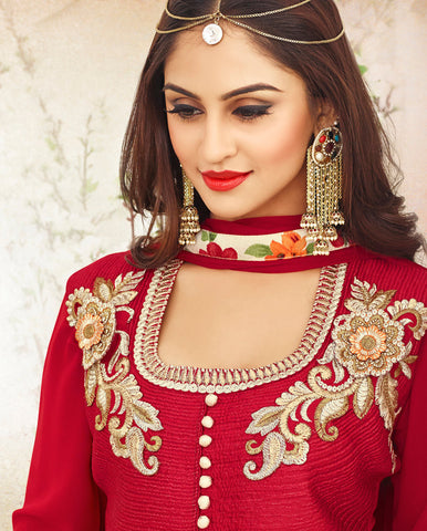 Designer Embroidered Anarkali Suits:atisundar Superb Red Designer Embroidered Anarkali - 9417 - atisundar - 4