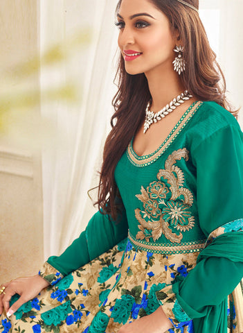 Designer Embroidered Anarkali Suits:atisundar Beautiful Green Designer Embroidered Anarkali - 9422 - atisundar - 3