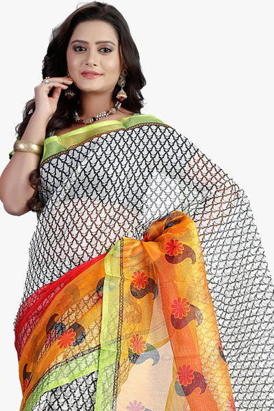 Designer Party wear Saree:atisundar angelic Designer Printed Party Wear Saree in Supernet in White  - 11509 - atisundar - 2 - click to zoom