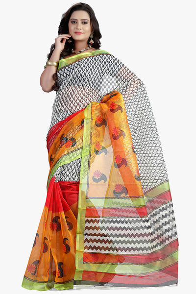 Designer Party wear Saree:atisundar angelic Designer Printed Party Wear Saree in Supernet in White  - 11509 - atisundar - 1 - click to zoom