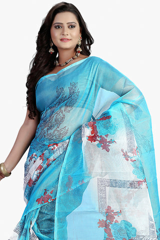 Designer Party wear Saree:atisundar angelic Designer Printed Party Wear Saree in Supernet in Sky Blue  - 11510 - atisundar - 2