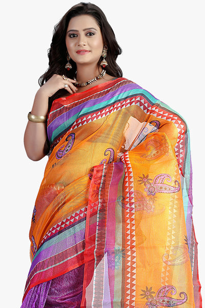 Designer Party wear Saree:atisundar refined Designer Printed Party Wear Saree in Supernet in Orange And Purple  - 11511 - click to zoom
