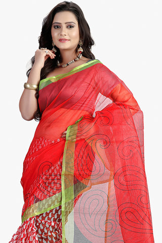 Designer Party wear Saree:atisundar admirable Designer Printed Party Wear Saree in Supernet in Red  - 11512 - atisundar - 2