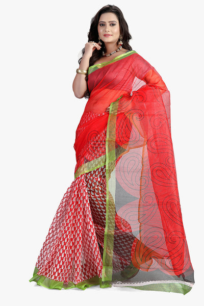 9e80f8bf96 atisundar admirable Designer Printed Party Wear Saree in Supernet in Red -  11512