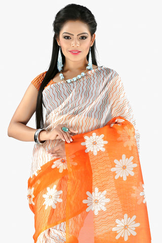 Designer Party wear Saree:atisundar charming Designer Printed Party Wear Saree in Supernet in Orange And White  - 11514 - atisundar - 2