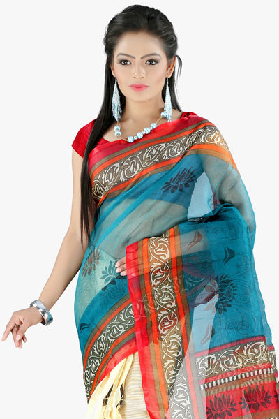 Designer Party wear Saree:atisundar appealing Designer Printed Party Wear Saree in Supernet in Sky Blue And Cream  - 11517 - click to zoom