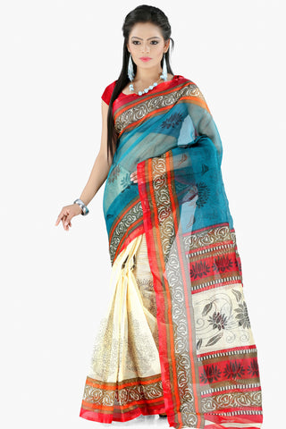 Designer Party wear Saree:atisundar appealing Designer Printed Party Wear Saree in Supernet in Sky Blue And Cream  - 11517 - atisundar - 1 - click to zoom