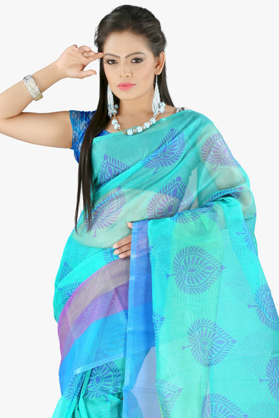 Designer Party wear Saree : atisundar bewitching Designer Printed Party Wear Saree in Supernet in Sky Blue  - 11518 - atisundar - 2 - click to zoom