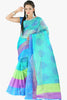 Designer Party wear Saree : atisundar bewitching Designer Printed Party Wear Saree in Supernet in Sky Blue  - 11518 - atisundar - 1 - click to zoom
