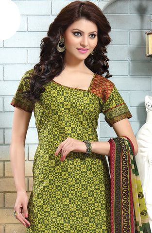 Designer Collection in Pure Cotton Featuring Urvashi Rautela:atisundar angelic Green Pure Cotton Designer Printed unstitched Suit - 6573 - atisundar - 3