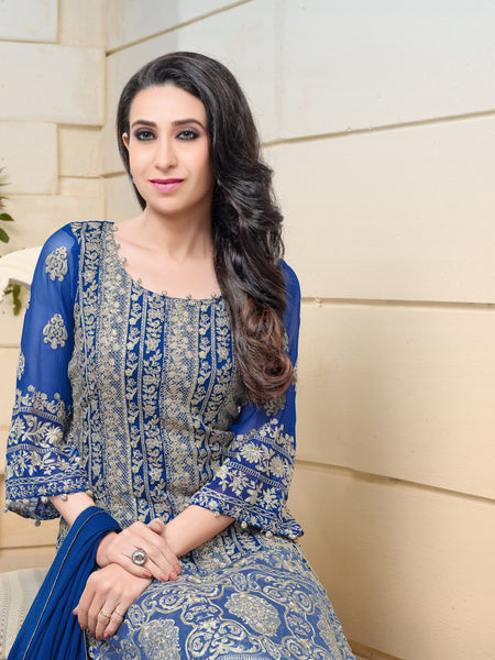 The karishma Kapoor Collection:atisundar ravishing Blue Designer Straight Cut  - 8307 - atisundar - 2 - click to zoom