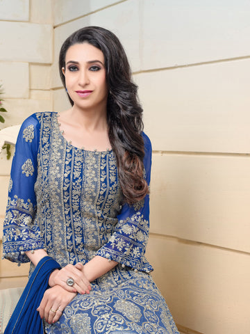 The karishma Kapoor Collection:atisundar ravishing Blue Designer Straight Cut  - 8307 - atisundar - 2