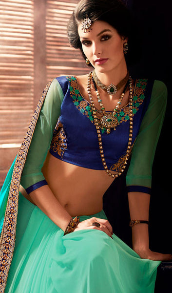 Designer Saree:atisundar divine Designer Party Wear Sarees in Sea Green  - 10334 - atisundar - 2 - click to zoom