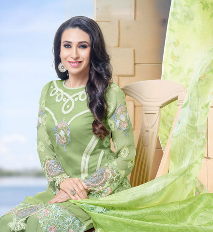 The karishma Kapoor Collection:atisundar exquisite Green Designer Straight Cut  - 8313 - atisundar - 2