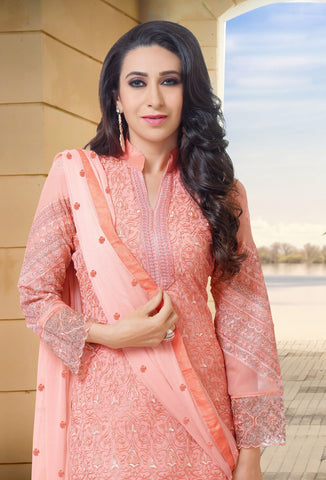 The karishma Kapoor Collection:atisundar Alluring Pink Designer Straight Cut  - 8314 - atisundar - 2