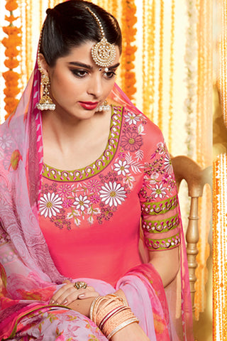 Designer Straight Cut:atisundar cute Pink Designer Embroidered Straight Cut by Kimora - 12106 - atisundar - 5