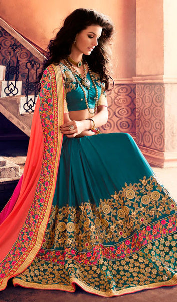 Designer Saree:atisundar refined Designer Party Wear Sarees in Teal Blue  - 10341 - click to zoom