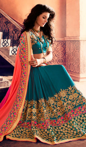 Designer Saree:atisundar refined Designer Party Wear Sarees in Teal Blue  - 10341 - atisundar - 2