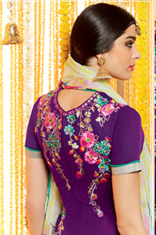 Designer Straight Cut:atisundar Lovely Purple Designer Embroidered Straight Cut by Kimora - 12110 - atisundar - 6
