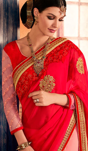 Designer Saree:atisundar cute Designer Party Wear Sarees in Red  - 10348 - atisundar - 2