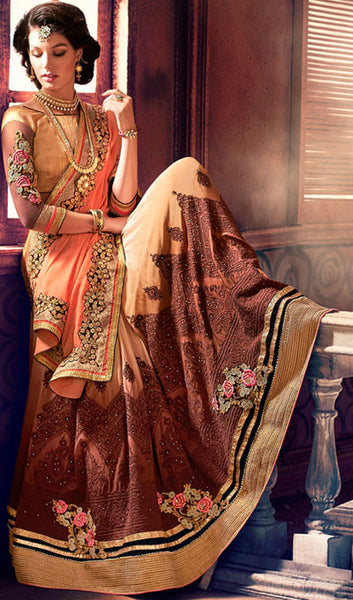 Designer Saree:atisundar refined Designer Party Wear Sarees in Brown  - 10349 - atisundar - 2 - click to zoom