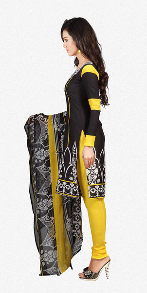Designer Printed Unstitched Suits In American Crepe:atisundar graceful Black Designer Printed Unstitched Suits - 6659 - atisundar - 2 - click to zoom