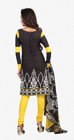 Designer Printed Unstitched Suits In American Crepe:atisundar graceful Black Designer Printed Unstitched Suits - 6659 - atisundar - 3