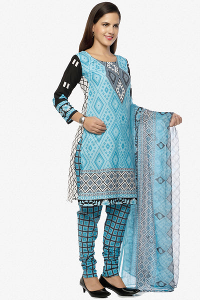 Designer Printed Unstitched Suits In American Crepe:atisundar Great Sky Designer Printed Unstitched Suits - 6653 - click to zoom