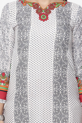 Designer Printed Unstitched Suits In American Crepe:atisundar refined White Designer Printed Unstitched Suits - 6657