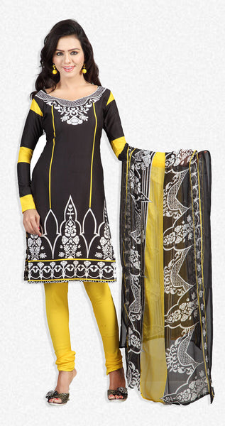 Designer Printed Unstitched Suits In American Crepe:atisundar graceful Black Designer Printed Unstitched Suits - 6659 - atisundar - 1 - click to zoom