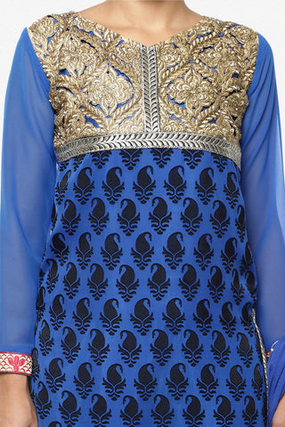 Designer Straight Cut Suit:atisundar enticing Blue Designer Straight Cut  - 6667