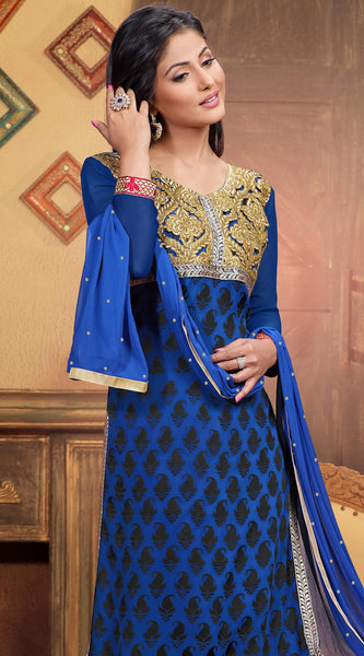 Designer Straight Cut Suit:atisundar enticing Blue Designer Straight Cut  - 6667 - atisundar - 5 - click to zoom