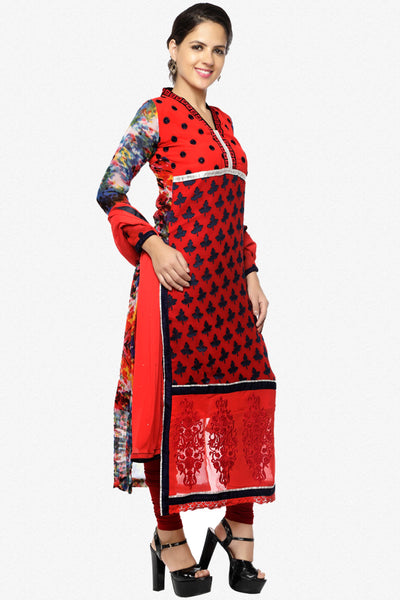 Designer Straight Cut Suit:atisundar superb Red Designer Straight Cut  - 6668 - click to zoom