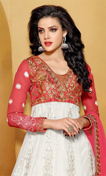 Designer Embroidered Anarkali:atisundar classy Pink And White embroidered Party Wear Anarkali - 6684 - atisundar - 5 - click to zoom