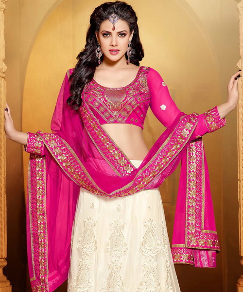 Designer Embroidered Anarkali:atisundar beauteous Pink And White embroidered Party Wear Anarkali - 6687 - atisundar - 5 - click to zoom