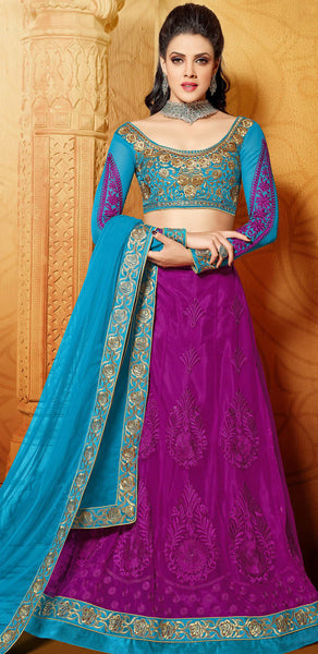 Designer Embroidered Anarkali:atisundar marvelous Blue And Purple embroidered Party Wear Anarkali - 6691 - atisundar - 5 - click to zoom