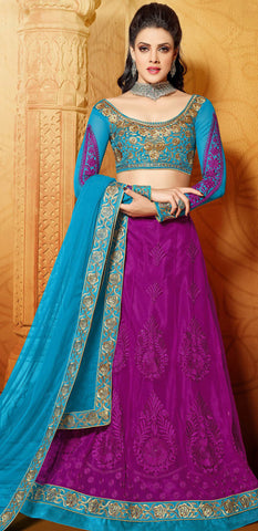 Designer Embroidered Anarkali:atisundar marvelous Blue And Purple embroidered Party Wear Anarkali - 6691 - atisundar - 5