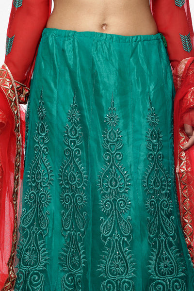 Designer Embroidered Anarkali:atisundar Charismatic Red And Green embroidered Party Wear Anarkali - 6694 - click to zoom
