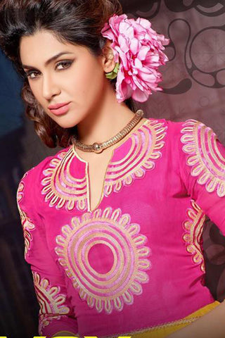 Designer Tops:atisundar graceful Faux Georgette Designer Tops in Pink And Yellow - 9339