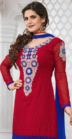 The Zareen Khan Collection:atisundar pretty Red Designer Straight Cut  - 6729 - atisundar - 3 - click to zoom
