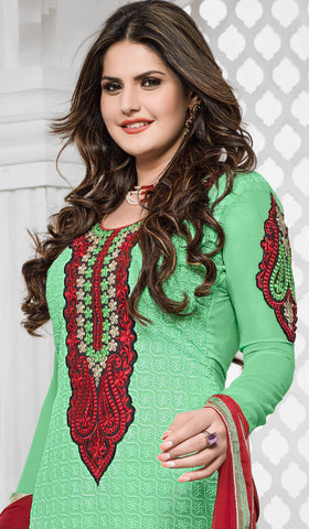 The Zareen Khan Collection:atisundar Attractive Sea Green Designer Straight Cut  - 6732 - atisundar - 3