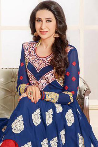 The Karishma Kapoor Collection:atisundar excellent Blue embroidered Party Wear Anarkali - 6789
