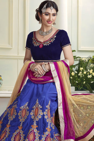 Designer Lehenga:atisundar Great Velvet  Designer Party Wear Lehenga in Royal Blue - 11838 - atisundar - 4