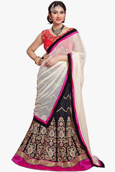 Designer Lehenga:atisundar Great Velvet  Designer Party Wear Lehenga in Peach - 11839 - atisundar - 1 - click to zoom