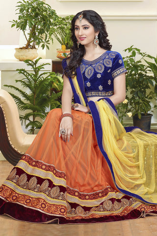 Designer Lehenga:atisundar graceful Velvet  Designer Party Wear Lehenga in Royal Blue - 11840 - atisundar - 4