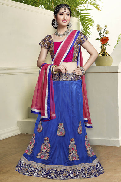 Designer Lehenga:atisundar enticing Velvet  Designer Party Wear Lehenga in Pink - 11841 - atisundar - 3 - click to zoom