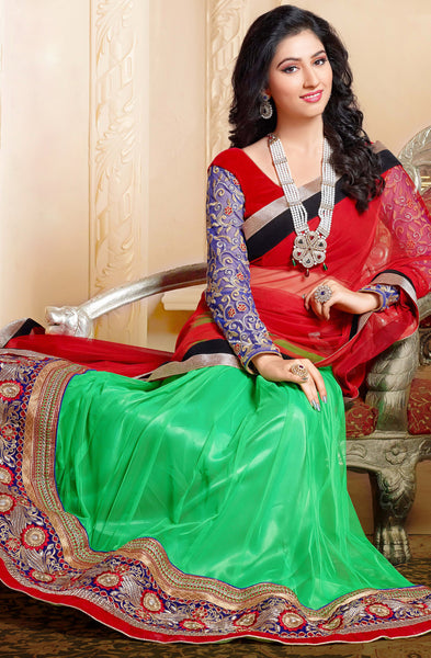 Disha Parmar Lehenga Collection:atisundar Beautiful Velvet  Lehenga in Red - 6833 - atisundar - 5 - click to zoom